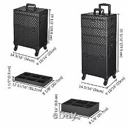 Byootique 4in1 Rolling Makeup Case Cosmetic Train Case Organizer Storage Artist