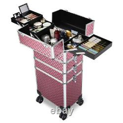 Byootique Antique Pink Rolling Makeup Case 4in1 Cosmetic Trolley Organizer