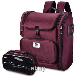 Byootique Beet Red Makeup Train Case Soft Sided Barber Cosmetic Backpack Storage