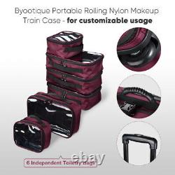 Byootique Beet Red Rolling Makeup Train Case Soft Sided Cosmetic Backpack Travel