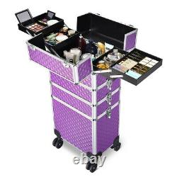 Byootique Dusky Rose Rolling Makeup Case 4in1 Cosmetic Trolley Organizer