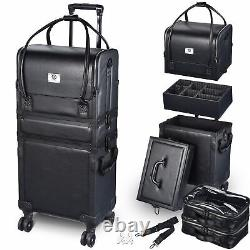Byootique Makeup Train Case Lockable Rolling Cosmetic Traveling Storage Trolley
