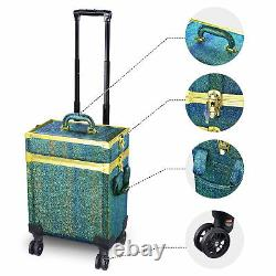 Byootique Malachite Green Makeup Train Case Lockable Rolling Cosmetic Trolley
