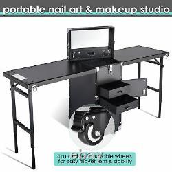Byootique Portable Nail Manicure Platform Rolling Makeup Train Case 2 Tabletops
