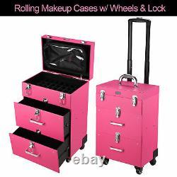 Byootique Pro Nail Polish Organizer Large Makeup Train Case Rolling Makeup