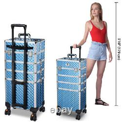 Byootique Sky Blue Rolling Makeup Case 4in1 Cosmetic Trolley Organizer Lockable