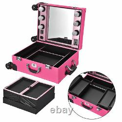 Byootique Tabletop Makeup Train Case Wheeled LED Light Mirror Cosmetic Pink
