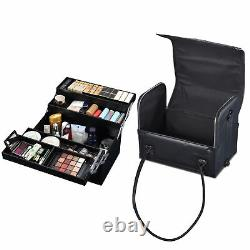 Byootique Traveling Storage Makeup Train Case Lockable Rolling Cosmetic Trolley