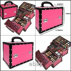 Carry All Trunk Train Case with Makeup and Reusable Case Makeup Gift Set (Pink)