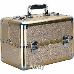 Champagne Gold Glitter 4 Extendable Trays Professional Cosmetic Makeup Case w