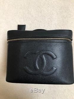 Chanel CC Logo Black Caviar Vintage 90s Cosmetic Train Case