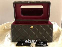 Chanel Vintage Black Quilted Lambskin Cosmetic Bag Train Case