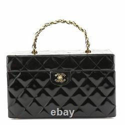 Chanel Vintage Cosmetic Train Case Quilted Patent Medium