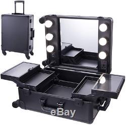 Chende Black Studio Artist Train Rolling Makeup Case With Lights, Large Lighted