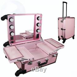 Chende Pink Pro Studio Artist Train Rolling Makeup Case with Light Wheeled