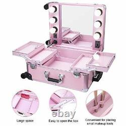 Chende Pink Pro Studio Artist Train Rolling Makeup Case with Light Wheeled Or