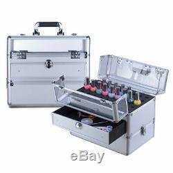 Clear Panel Top Nail Polish Makeup Train Case 16 Aluminum Professional
