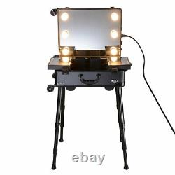 Cosmetic Makeup Case Rolling Artist Studio Trolley Case Box With LED Light Mirror