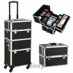 Cosmetic Rolling Makeup Train Case Large Aluminum Trolley Makeup Travel Case