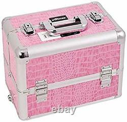 Craft Accents Professional Aluminum Cosmetic Makeup Case Pink Crocodile 128 O