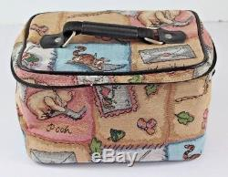DISNEY WINNIE THE POOH Train Case Tapestry Make-Up Cosmetic Craft Bag Tote EUC