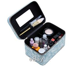 EVE'S LOVE Makeup Train Case with Mirror Zipper Brush Holders and PU Leather Pr