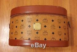 FABULOUS Vintage MCM Train/Makeup Hard Case in Brown w Strap n Mirror IMAGINE