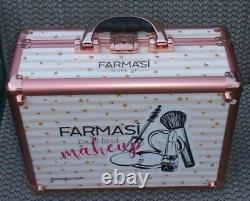 Farmasi Makeup Box Lighted Mirror Train Case lock&key Well Built 14x11x6 1/2