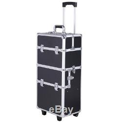 Giantex 3 In1 Pro Aluminum Rolling Makeup Cosmetic Train Case Wheeled Box Black