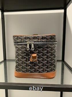Goyard Chevron Train Case Cosmetic Zip Trunk Bag Brown Goyard Bag 100% Authentic