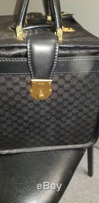 Gucci Black Monogram Canvas and Leather Train Case Cosmetic Travel Bag Vintage