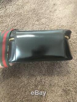 Gucci Black Patent Leather Train Case Cosmetic Box Clutch Purse Bamboo $899
