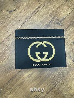 Gucci Guilty Black & Gold Train Case Travel Bag / Cosmetic Bag Hard Case