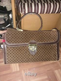 Gucci Train Case Vanity Vintage Overnight Cosmetic Leather & suede pls read