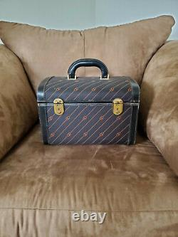 Gucci Train Case Vanity Vintage Overnight Cosmetic Travel Case Leather & Canvas