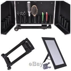 Hair Stylist Aluminum Rolling Tool Box Makeup Artist Salon Train Case with Mirror