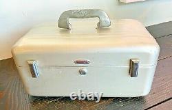 Halliburton Vtg Mid Century Modern Aluminum Cosmetic Suitcase Luggage Train Case