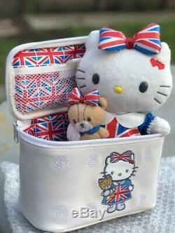 Hello Kitty london Jack Plush Teddy Bear W Matching Makeup Train Case. Rare