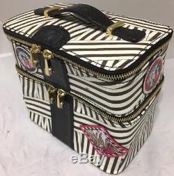 Henri Bendel Black And White Striped Makeup Cosmetic Train