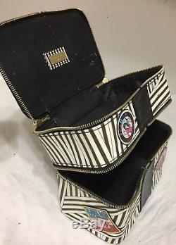 Henri Bendel Black And White Striped Makeup Cosmetic Train Case Organizer Bag