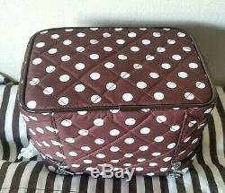 Henri Bendel Brown/white Polka Dots Train Case Cosmetic Bag New No Tag