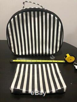 Henri Bendel Centennial Stripe 2-Piece Set Round Travel Train Case Cosmetic Bag