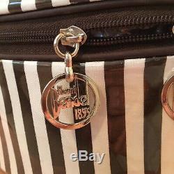 Henri Bendel Centennial Stripe 3 Pc Set Round Travel Train Case 2 Cosmetic Bags