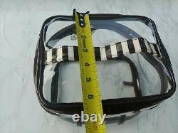 Henri Bendel Clear Cosmetic Bag Travel Train Case Brown White Stripe