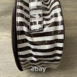 Henri Bendel Cosmetic Bag Signature Centennial Stripe Brown/White Train Case