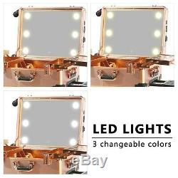 Holydecot Makeup Train Case Large Full Screen Lighted Mirror Password Safe Lo