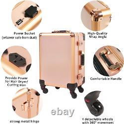 Holydecot Makeup Train Case with Speaker & Code Lock & Full Screen Lighted & 3