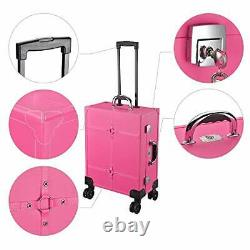 Hot Tabletop Makeup Train Case Wheeled LED Light Mirror Cosmetic Pink