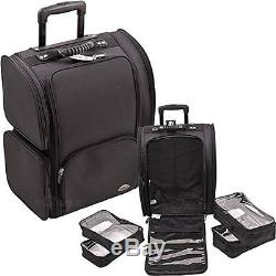 JUST-C6401NLAB-Sunrise All Black Soft Sided Professional Rolling Makeup Case Wi