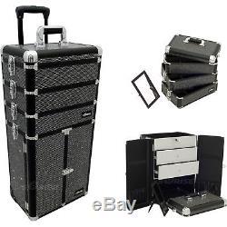 JUST-I3366KLAB-Black Krystal Professional Rolling Aluminum Cosmetic Makeup Case